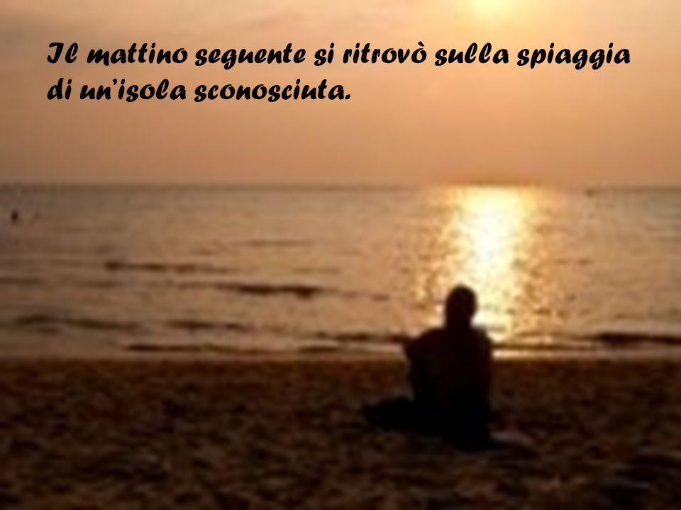 Il mattino seguente si ritrovò sulla spiaggia di un'isola sconosciuta.