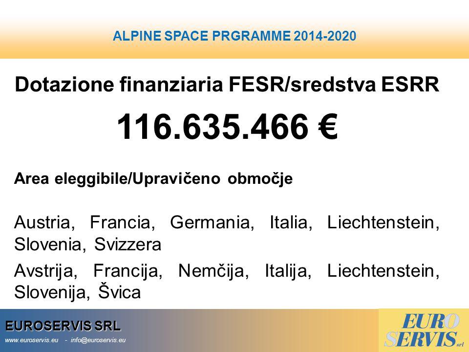 EUROSERVIS SRL www.euroservis.eu - info@euroservis.eu ALPINE SPACE Dotazione finanziaria FESR/sredstva ESRR 116.635.466 € Area eleggibile/Upravičeno o