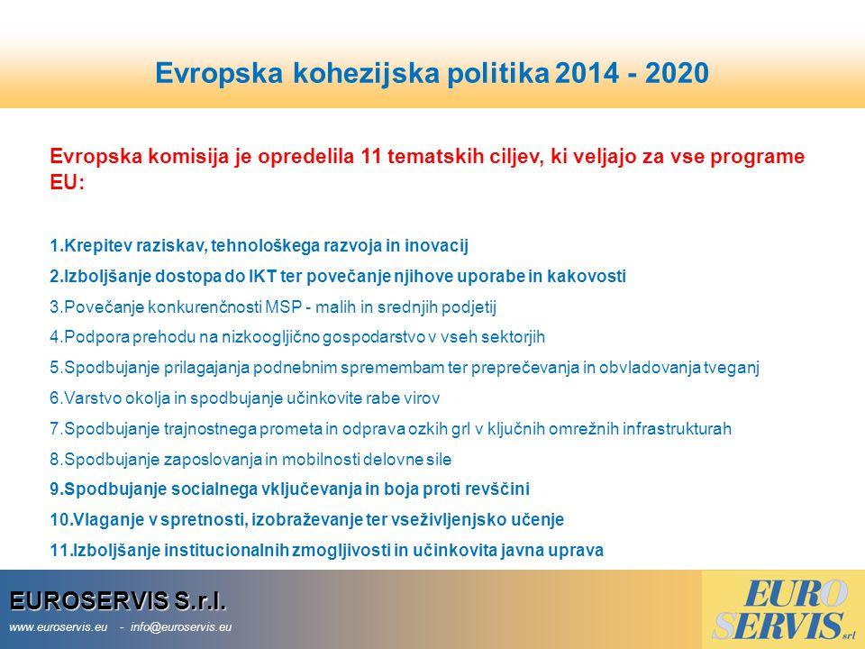 EUROSERVIS S.r.l. www.euroservis.eu - info@euroservis.eu Evropska komisija je opredelila 11 tematskih ciljev, ki veljajo za vse programe EU: 1.Krepite