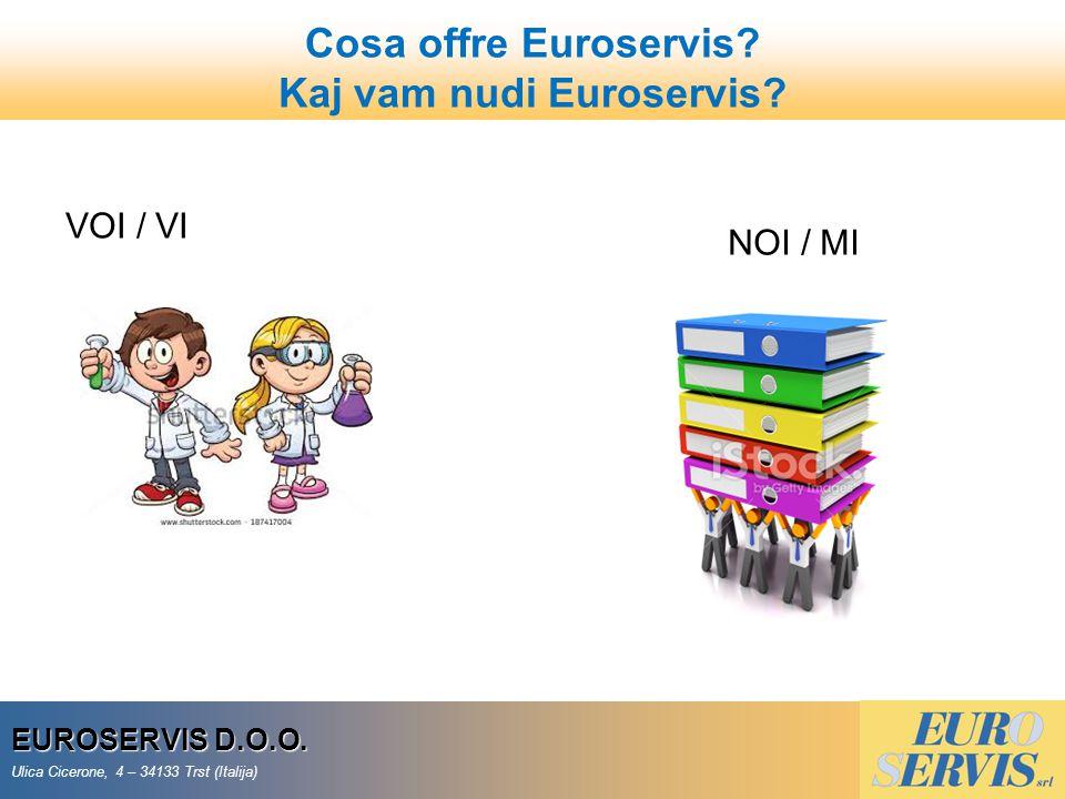 30 EUROSERVIS D.O.O. Ulica Cicerone, 4 – 34133 Trst (Italija) VOI / VI NOI / MI Cosa offre Euroservis? Kaj vam nudi Euroservis?