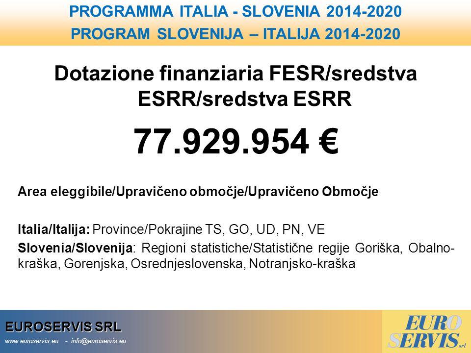EUROSERVIS SRL www.euroservis.eu - info@euroservis.eu Dotazione finanziaria FESR/sredstva ESRR/sredstva ESRR 77.929.954 € Area eleggibile/Upravičeno o