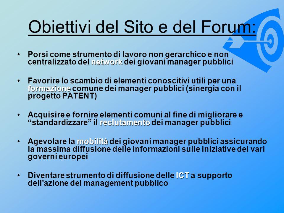 Obiettivi del Sito e del Forum: networkPorsi come strumento di lavoro non gerarchico e non centralizzato del network dei giovani manager pubblici form