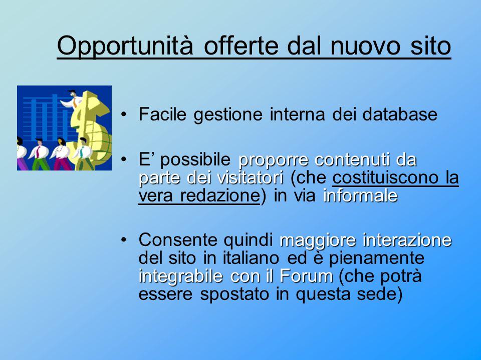 Opportunità offerte dal nuovo sito Facile gestione interna dei database proporre contenuti da parte dei visitatori informaleE' possibile proporre cont