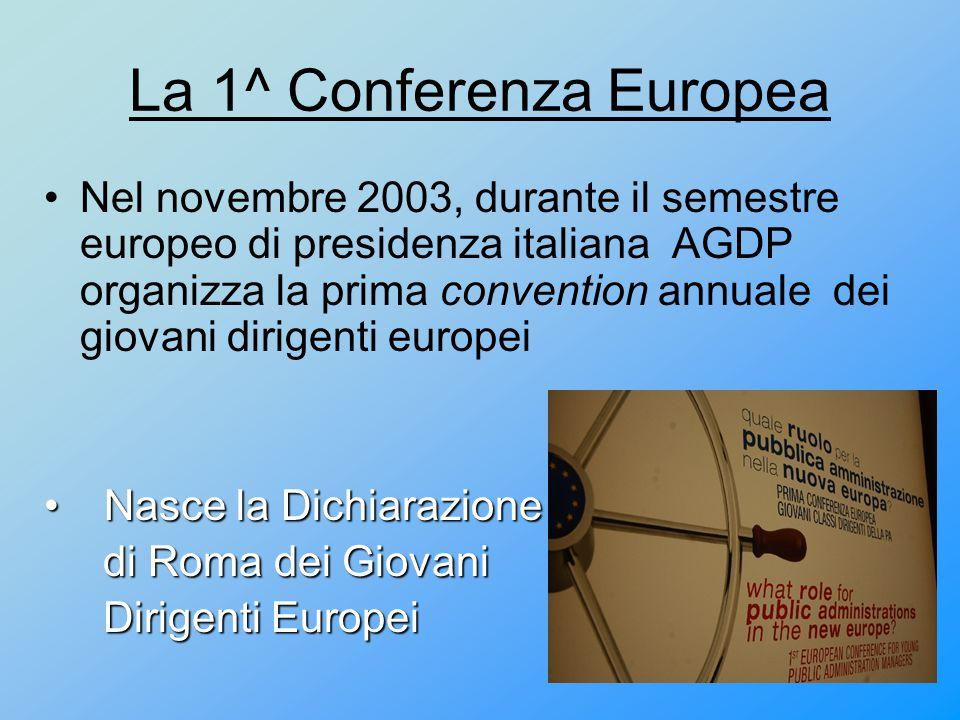 La 1^ Conferenza Europea Nel novembre 2003, durante il semestre europeo di presidenza italiana AGDP organizza la prima convention annuale dei giovani