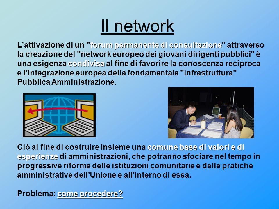 Il network forum permanente di consultazione condivisa L'attivazione di un forum permanente di consultazione attraverso la creazione del network europeo dei giovani dirigenti pubblici è una esigenza condivisa al fine di favorire la conoscenza reciproca e l integrazione europea della fondamentale infrastruttura Pubblica Amministrazione.