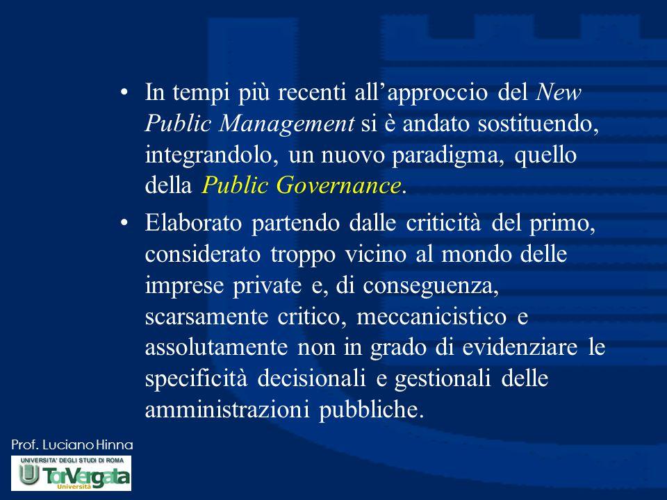 Prof. Luciano Hinna In tempi più recenti all'approccio del New Public Management si è andato sostituendo, integrandolo, un nuovo paradigma, quello del