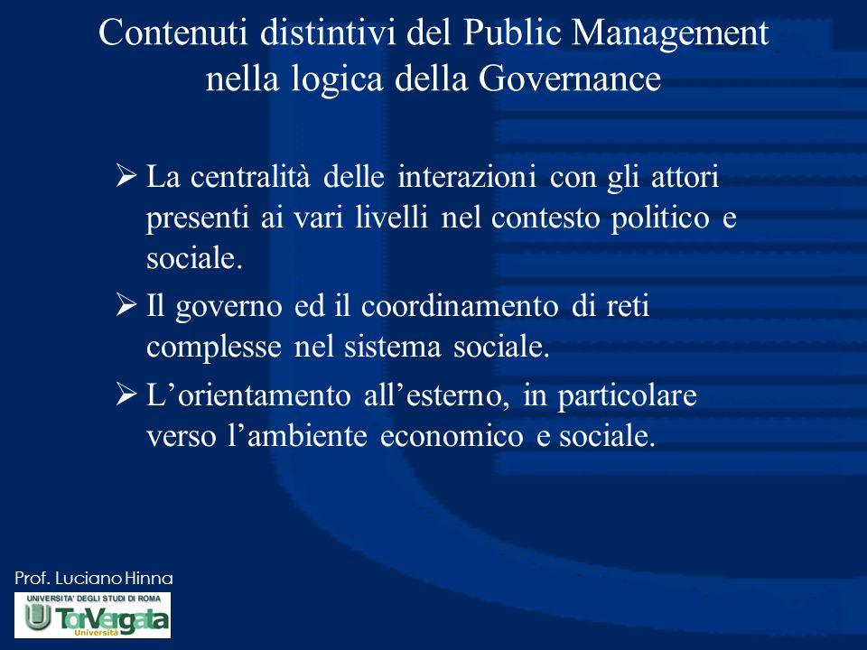 Prof. Luciano Hinna Contenuti distintivi del Public Management nella logica della Governance  La centralità delle interazioni con gli attori presenti