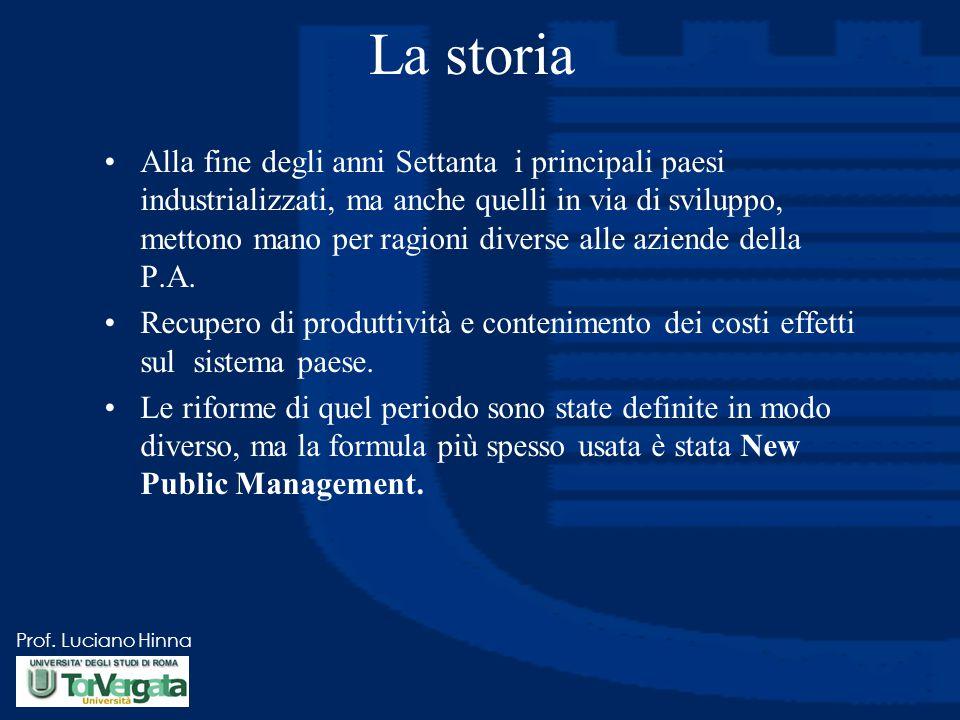 Prof. Luciano Hinna La storia Alla fine degli anni Settanta i principali paesi industrializzati, ma anche quelli in via di sviluppo, mettono mano per