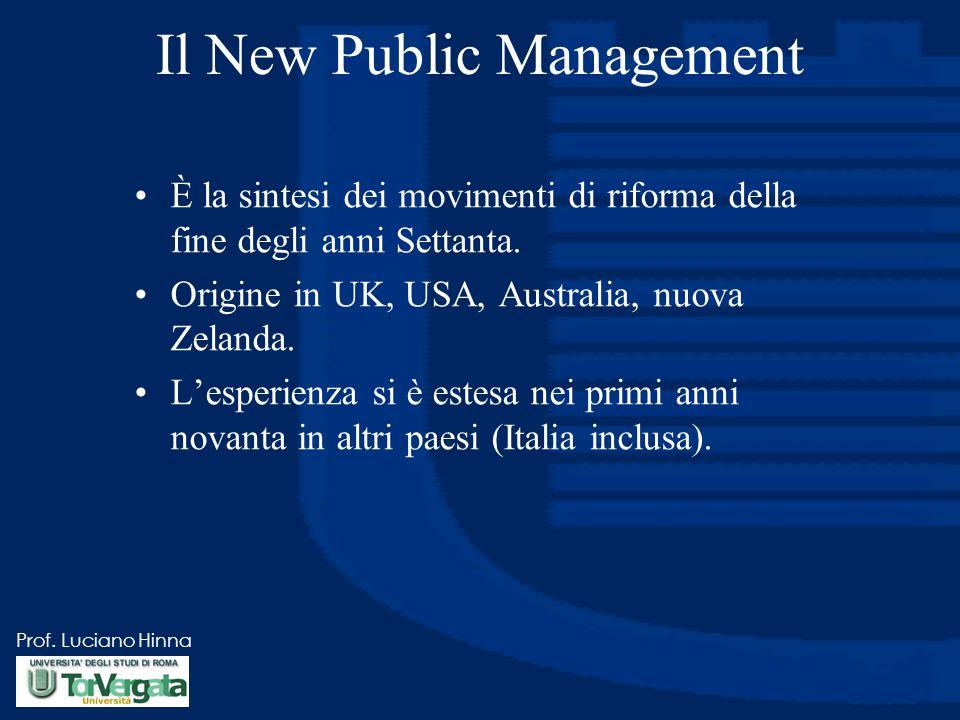Prof. Luciano Hinna Il New Public Management È la sintesi dei movimenti di riforma della fine degli anni Settanta. Origine in UK, USA, Australia, nuov
