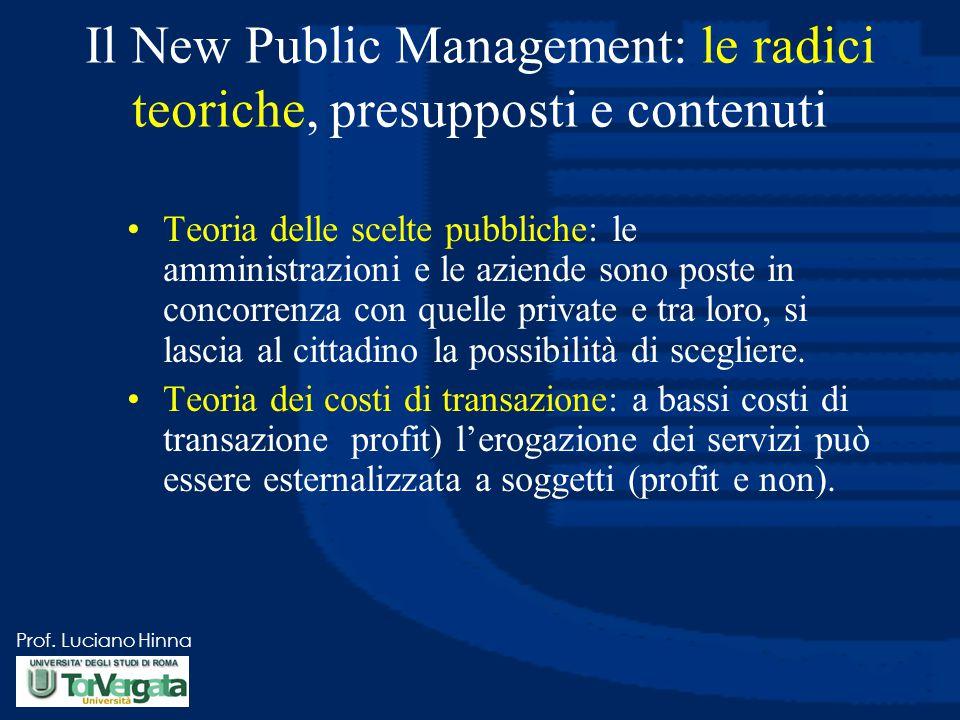 Prof. Luciano Hinna Il New Public Management: le radici teoriche, presupposti e contenuti Teoria delle scelte pubbliche: le amministrazioni e le azien