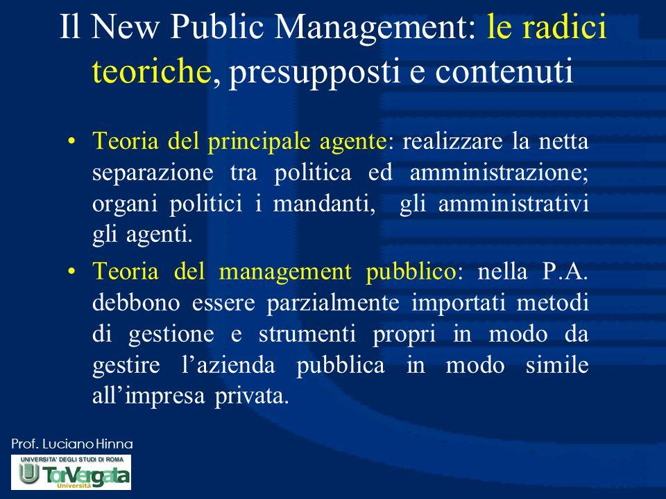 Prof. Luciano Hinna Il New Public Management: le radici teoriche, presupposti e contenuti Teoria del principale agente: realizzare la netta separazion