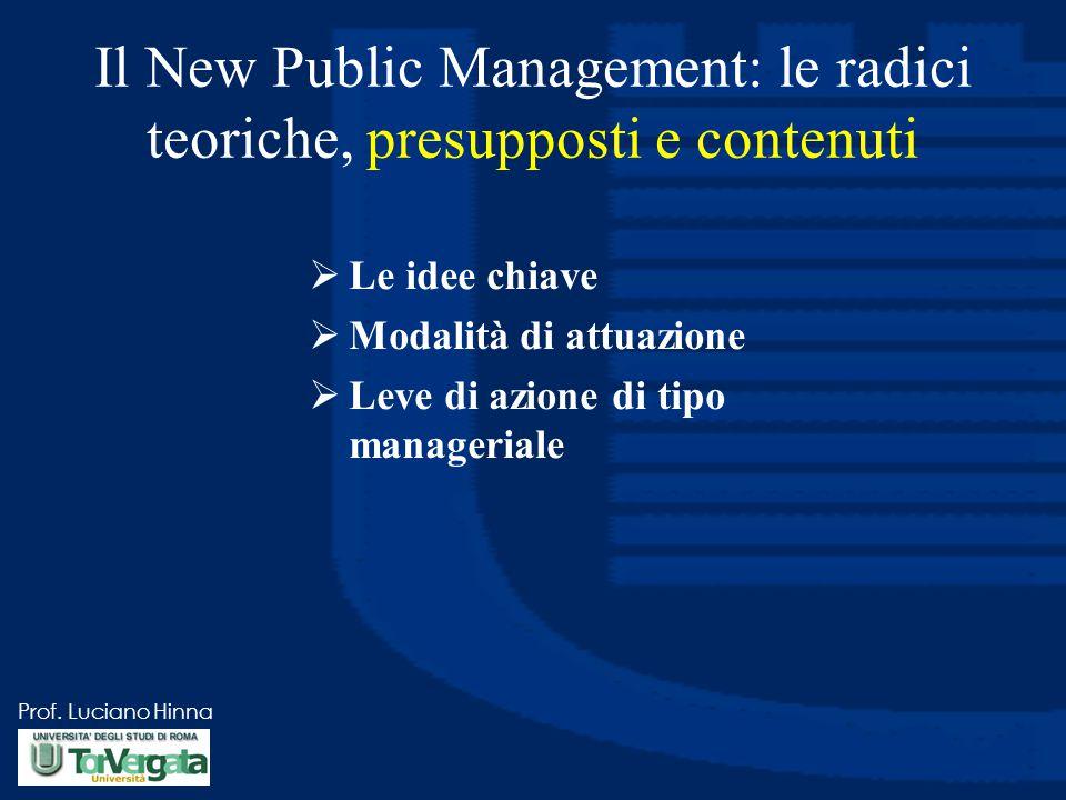 Prof. Luciano Hinna Il New Public Management: le radici teoriche, presupposti e contenuti  Le idee chiave  Modalità di attuazione  Leve di azione d
