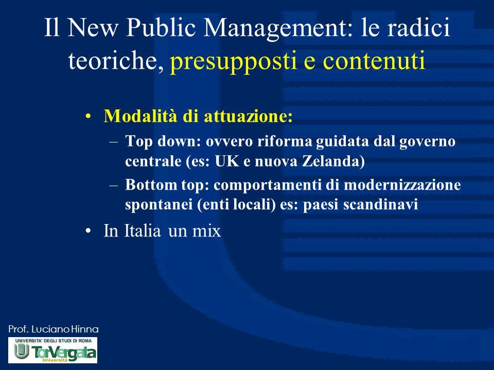 Prof. Luciano Hinna Il New Public Management: le radici teoriche, presupposti e contenuti Modalità di attuazione: –Top down: ovvero riforma guidata da