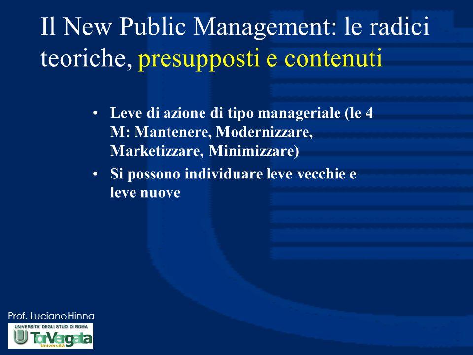 Prof. Luciano Hinna Il New Public Management: le radici teoriche, presupposti e contenuti Leve di azione di tipo manageriale (le 4 M: Mantenere, Moder