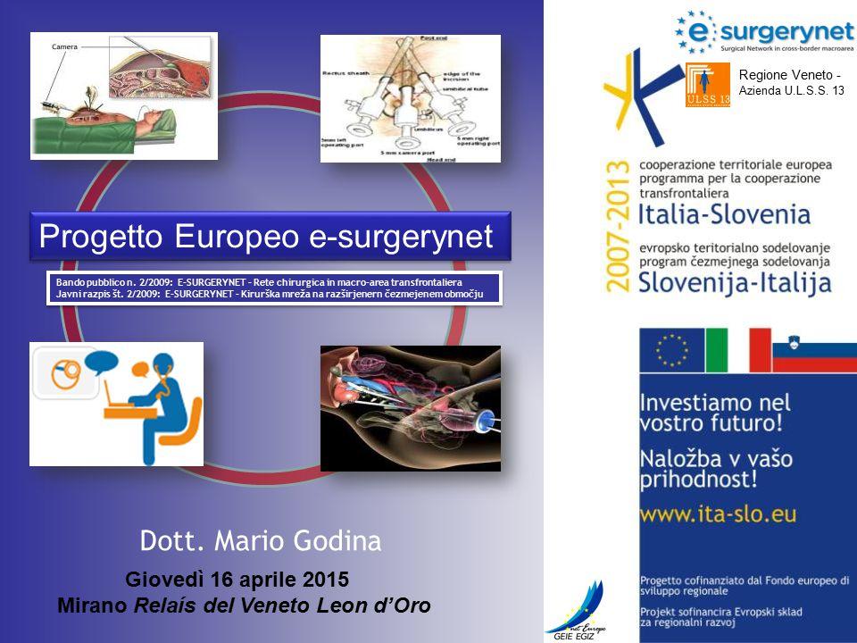 Regione Veneto - Azienda U.L.S.S. 13 Dott. Mario Godina Bando pubblico n. 2/2009: E-SURGERYNET – Rete chirurgica in macro-area transfrontaliera Javni