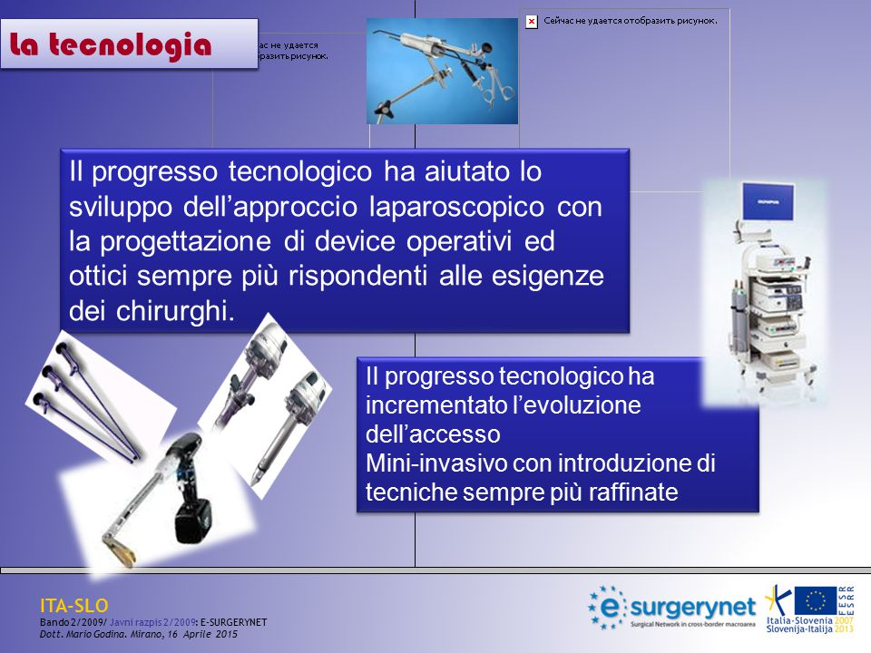 La tecnologia Il progresso tecnologico ha aiutato lo sviluppo dell'approccio laparoscopico con la progettazione di device operativi ed ottici sempre p