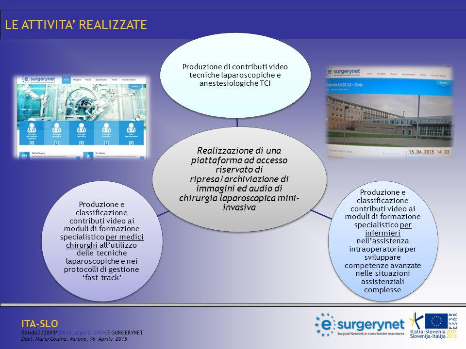 LE ATTIVITA' REALIZZATE Realizzazione di una piattaforma ad accesso riservato di ripresa/archiviazione di immagini ed audio di chirurgia laparoscopica