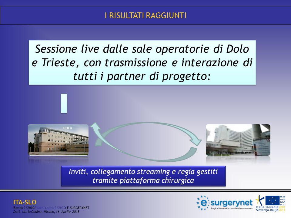 I RISULTATI RAGGIUNTI Sessione live dalle sale operatorie di Dolo e Trieste, con trasmissione e interazione di tutti i partner di progetto: Inviti, co