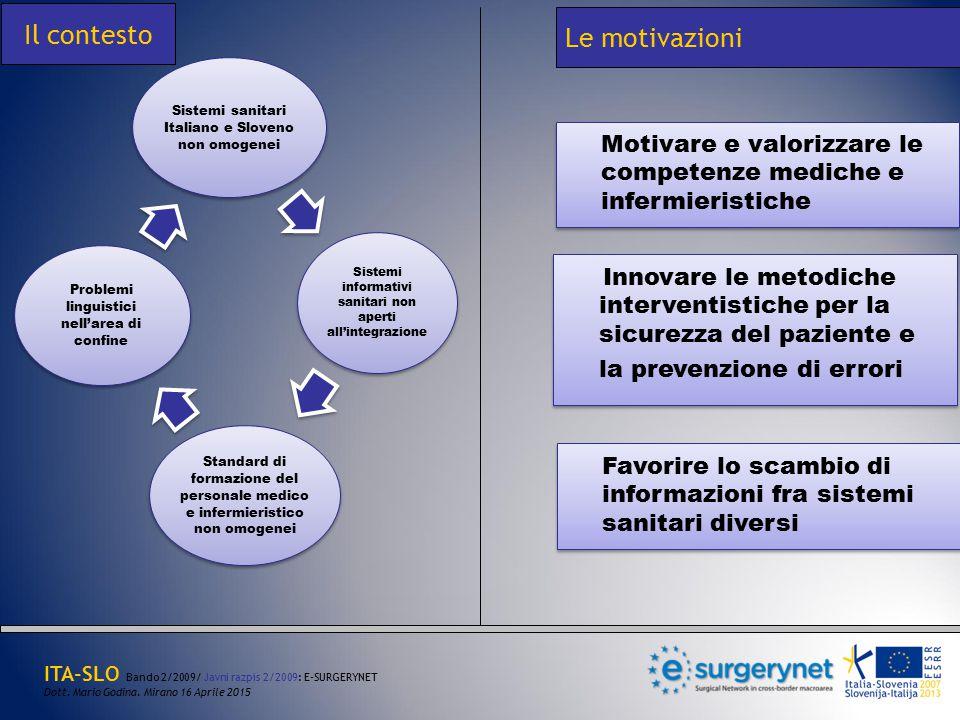 Sistemi sanitari Italiano e Sloveno non omogenei Sistemi informativi sanitari non aperti all'integrazione Standard di formazione del personale medico