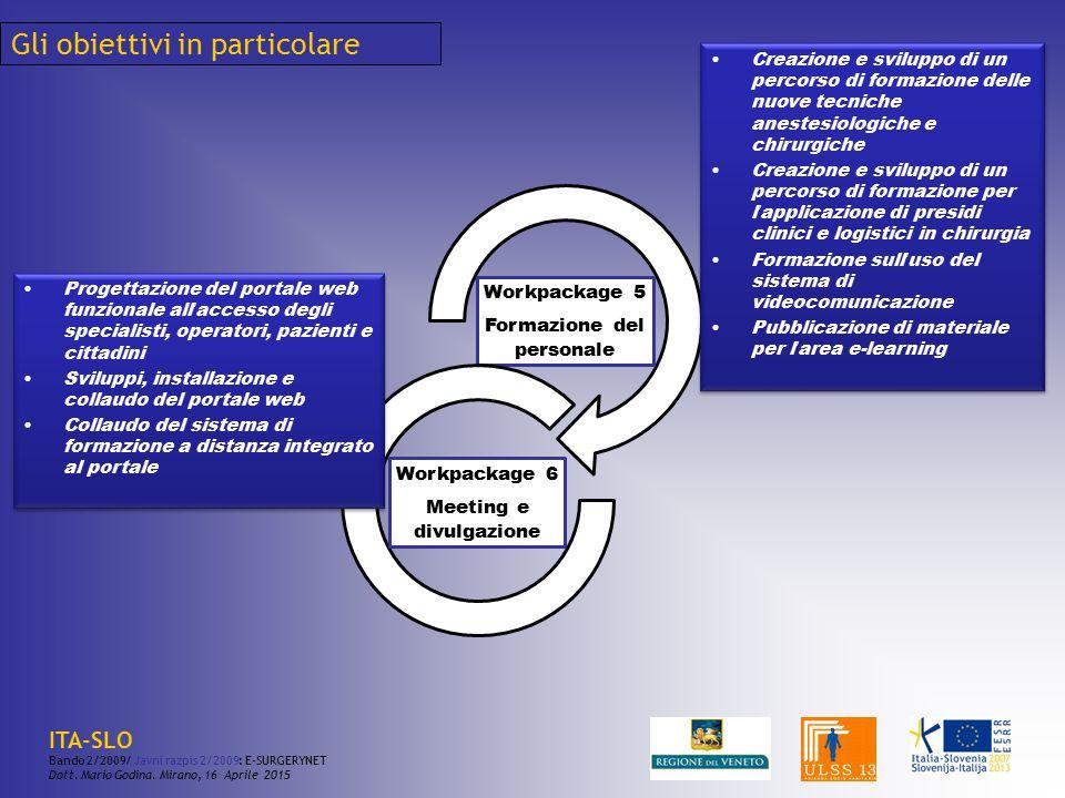 Gli obiettivi in particolare Workpackage 5 Formazione del personale Workpackage 6 Meeting e divulgazione Creazione e sviluppo di un percorso di formaz