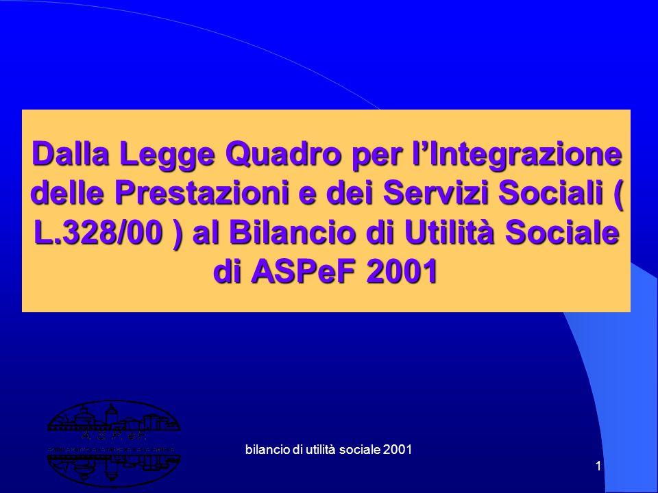 bilancio di utilità sociale 2001 11 1.3.2 Riforma dei Soggetti Sociali ( sussidiarietà orizzontale ) Volontariato Cooperative sociali Associazioni Fondazioni Bancarie Patronati Imprese sociali Ipab