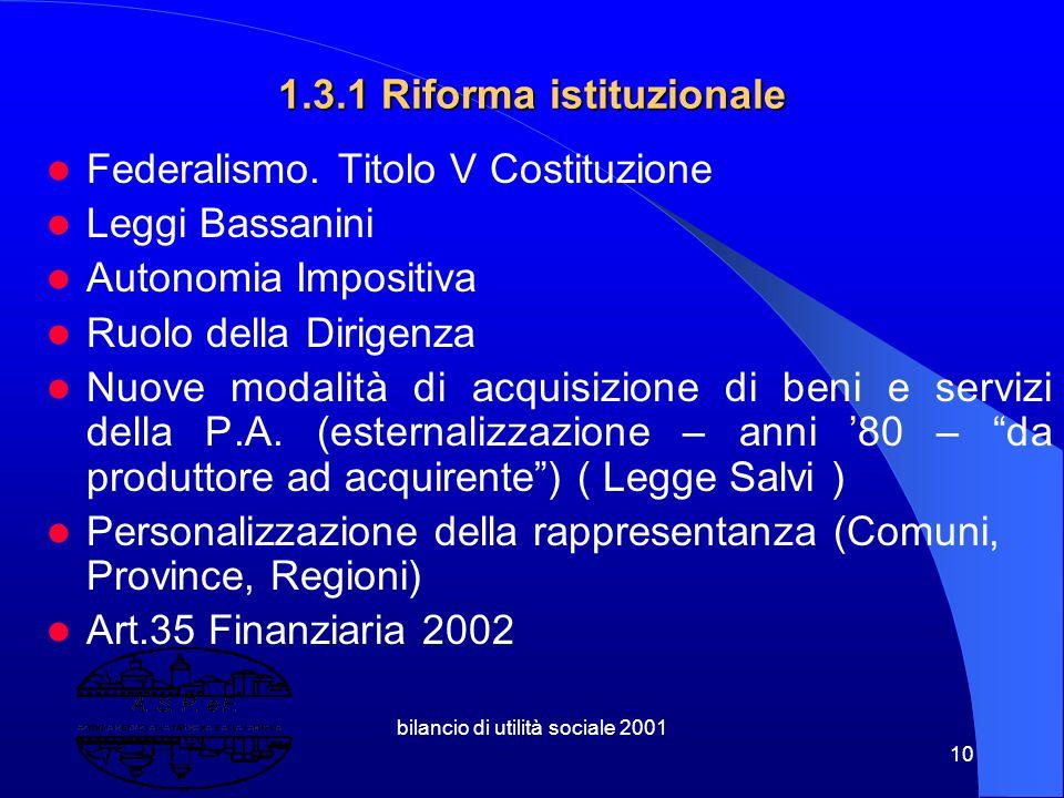 bilancio di utilità sociale 2001 9 1.3 Lo scenario forma welfare, forma stato, forma mercato, forma europa Patti di stabilità comunitario ed interno R