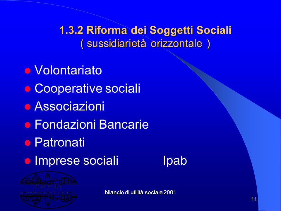 bilancio di utilità sociale 2001 10 1.3.1 Riforma istituzionale Federalismo. Titolo V Costituzione Leggi Bassanini Autonomia Impositiva Ruolo della Di