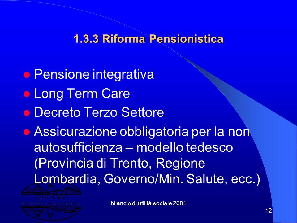 bilancio di utilità sociale 2001 11 1.3.2 Riforma dei Soggetti Sociali ( sussidiarietà orizzontale ) Volontariato Cooperative sociali Associazioni Fon