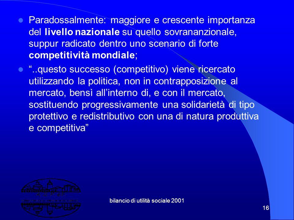 """bilancio di utilità sociale 2001 15 Nuovi investimenti in capitale umano e mobilità; la """"flessicurezza"""" nel mercato del lavoro; nuovi strumenti di lot"""