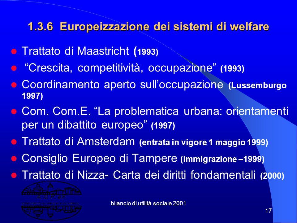 bilancio di utilità sociale 2001 16 Paradossalmente: maggiore e crescente importanza del livello nazionale su quello sovrananzionale, suppur radicato