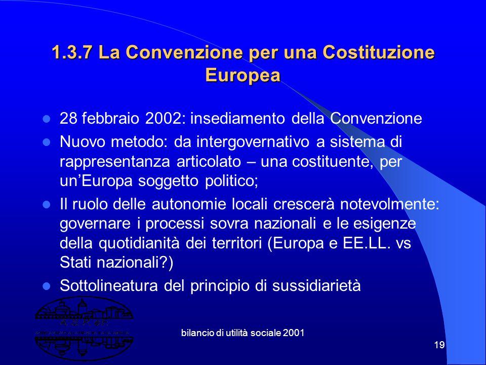 bilancio di utilità sociale 2001 18 Costruire un'Europa Solidale ( comunicazione Commissione marzo 2000) Lotta all'esclusione sociale (Lisbona 2000) A