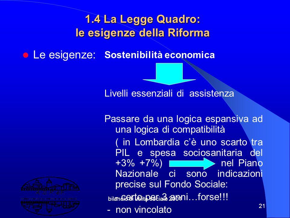 bilancio di utilità sociale 2001 20 Per l'U.E. la sovranità di riferimento è stata quella nazionale. Al contempo davanti ai problemi emergenti è cresc