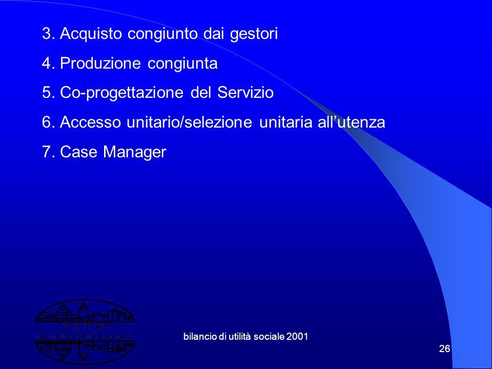 """bilancio di utilità sociale 2001 25 1.6 Integrazione: la centralità del punto di vista dell'utente, ovvero c'è un progetto unitario sul lato della """"ti"""