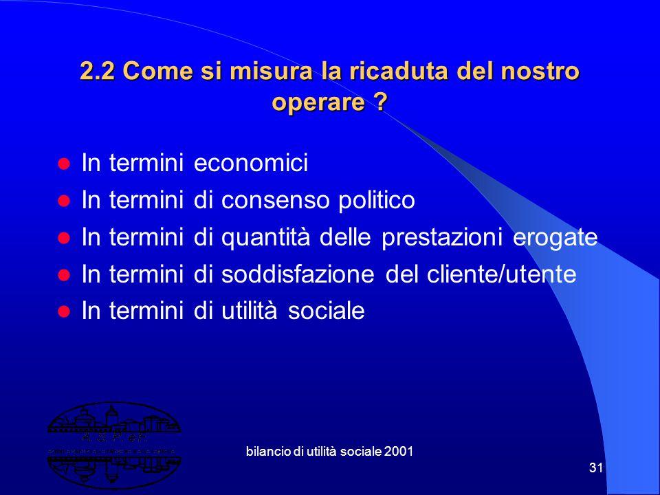 bilancio di utilità sociale 2001 30 2. Valutare l'Efficacia: una questione aperta