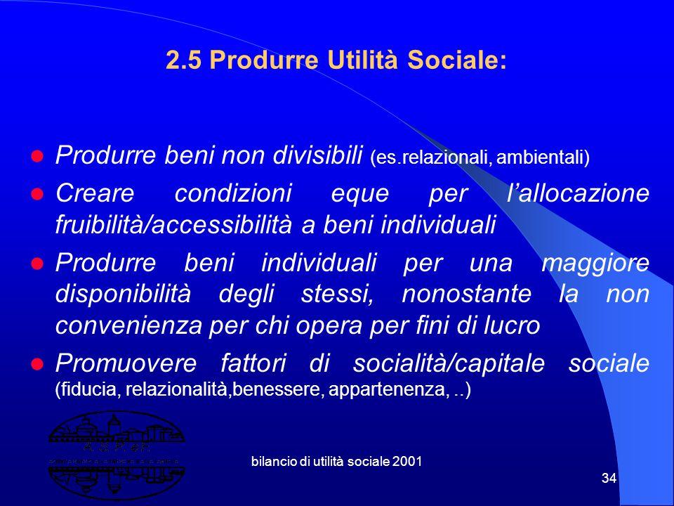 bilancio di utilità sociale 2001 33 2.4 Utilità sociale Il valore dell'outcome ( semplificando ) dipende dall'aumento dell'utilità dei soggetti coinvo