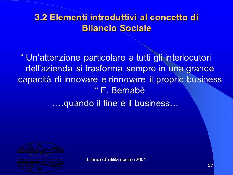 bilancio di utilità sociale 2001 36 3. Il Bilancio di Utilità Sociale