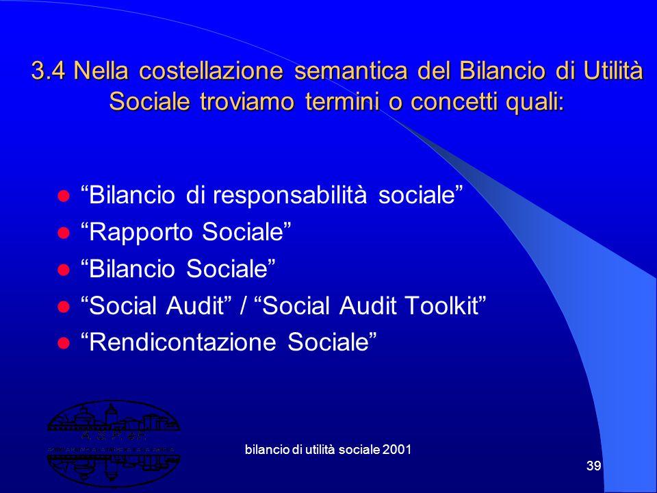 bilancio di utilità sociale 2001 38 3.3 B.U.S. 3.3 B.U.S. Strumento processuale e programmatico di controllo di gestione e di comunicazione ovvero di