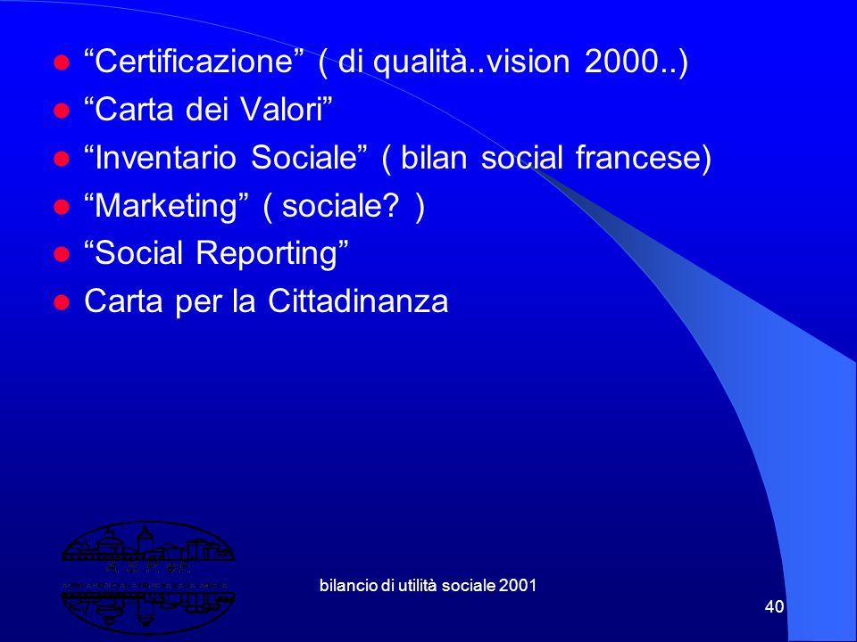 """bilancio di utilità sociale 2001 39 3.4 Nella costellazione semantica del Bilancio di Utilità Sociale troviamo termini o concetti quali: """"Bilancio di"""