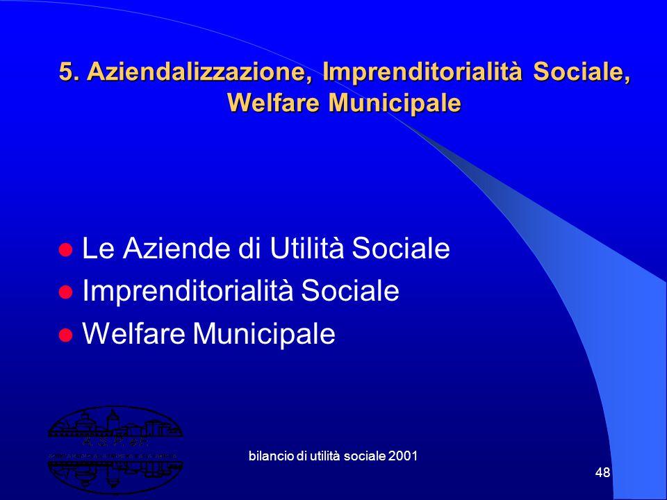 """bilancio di utilità sociale 2001 47 4.4 Azienda """"Sociale""""o di Utilità Sociale? Per il prodotto di quell'Azienda:D.L.112/98 ? oppure Per la dimensione"""
