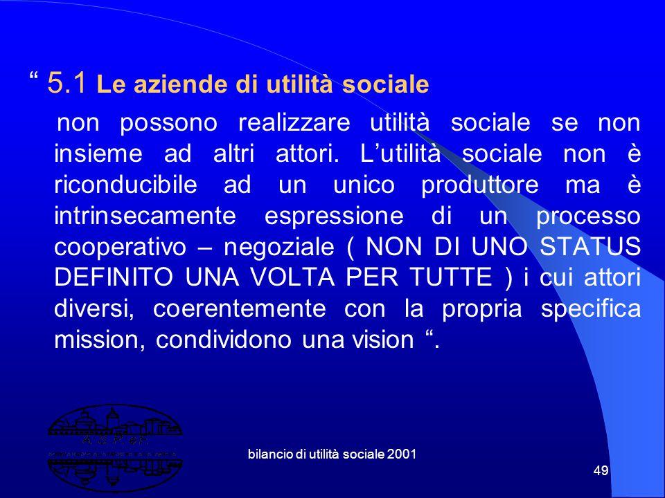bilancio di utilità sociale 2001 48 5. Aziendalizzazione, Imprenditorialità Sociale, Welfare Municipale Le Aziende di Utilità Sociale Imprenditorialit