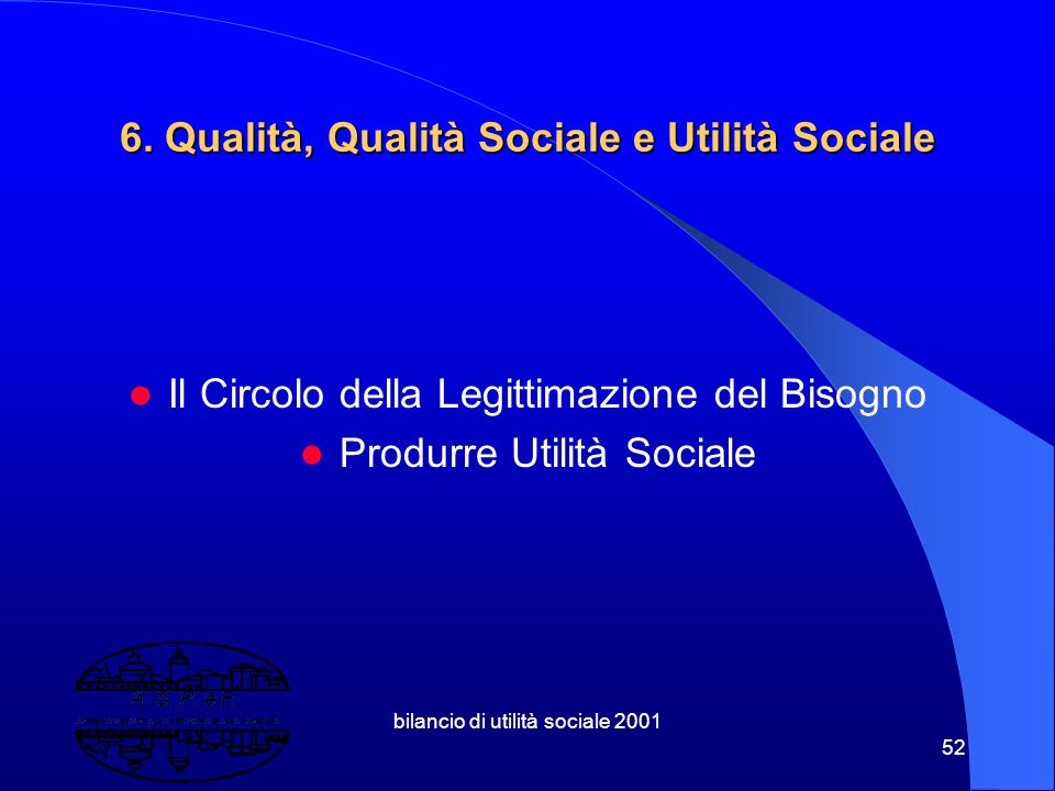 bilancio di utilità sociale 2001 51 5.3 Welfare Municipale Comune – Ordinamento Comune – Azienda Comune – Sistema a rete/holding Sussidiarietà orizzon