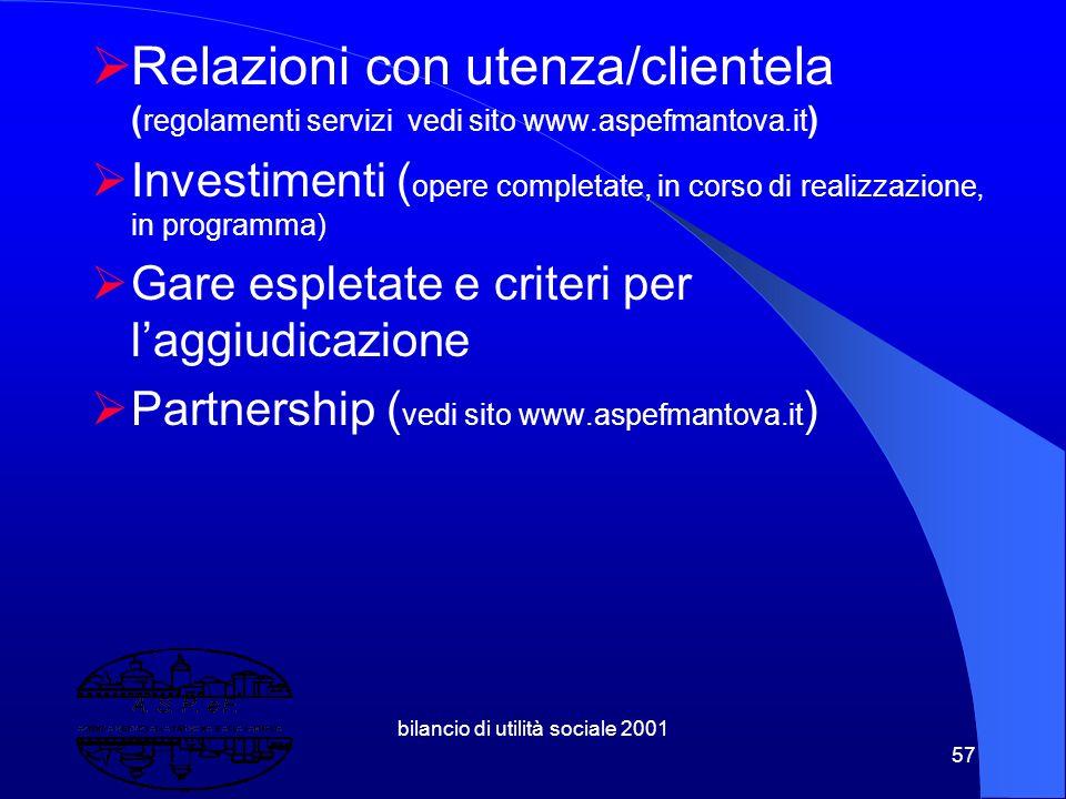 bilancio di utilità sociale 2001 56 8. Una Piattaforma di Indicatori  Struttura del fatturato( consolidamento economico finanziario,struttura dei cos