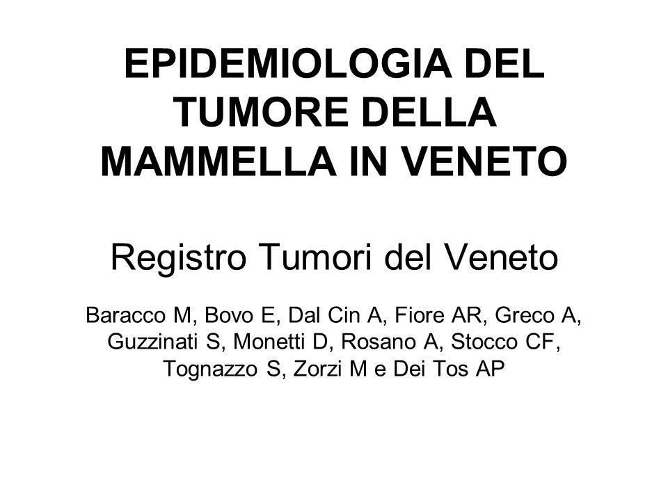 EPIDEMIOLOGIA DEL TUMORE DELLA MAMMELLA IN VENETO Registro Tumori del Veneto Baracco M, Bovo E, Dal Cin A, Fiore AR, Greco A, Guzzinati S, Monetti D,