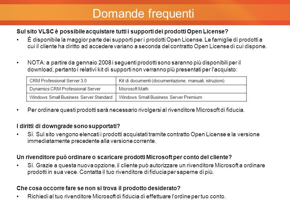 Sul sito VLSC è possibile acquistare tutti i supporti dei prodotti Open License? È disponibile la maggior parte dei supporti per i prodotti Open Licen