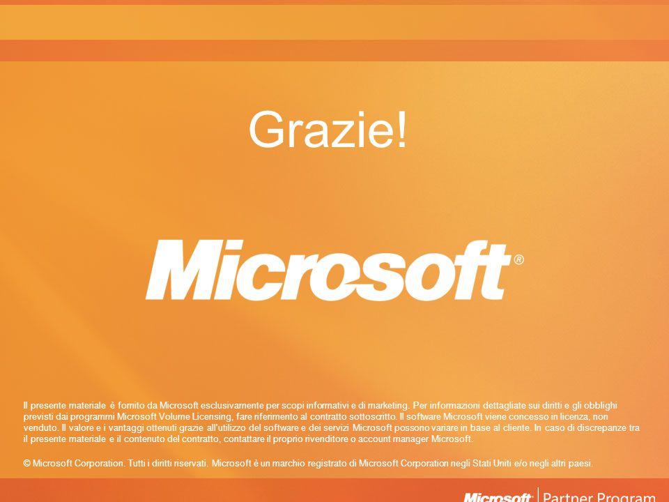 Grazie! Il presente materiale è fornito da Microsoft esclusivamente per scopi informativi e di marketing. Per informazioni dettagliate sui diritti e g