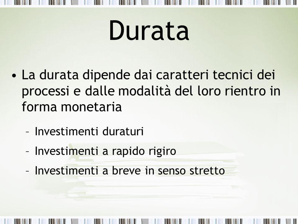 Durata La durata dipende dai caratteri tecnici dei processi e dalle modalità del loro rientro in forma monetaria –Investimenti duraturi –Investimenti