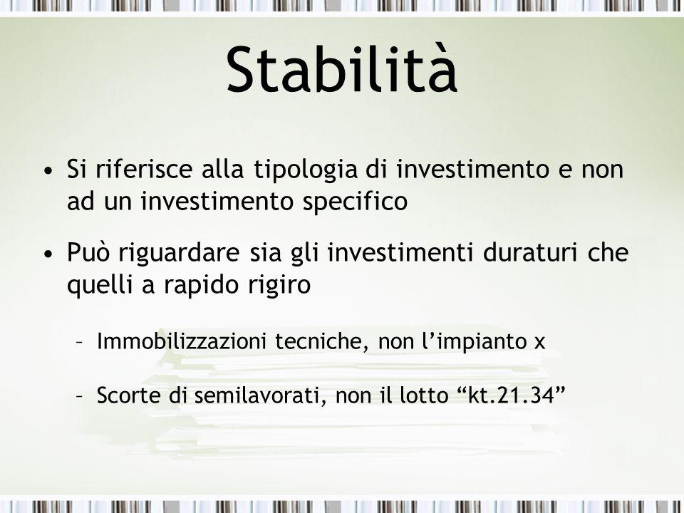 Stabilità Si riferisce alla tipologia di investimento e non ad un investimento specifico Può riguardare sia gli investimenti duraturi che quelli a rap