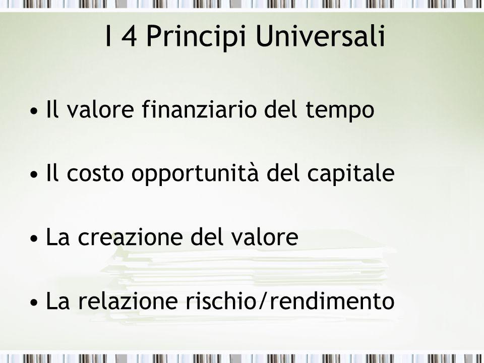 I 4 Principi Universali Il valore finanziario del tempo Il costo opportunità del capitale La creazione del valore La relazione rischio/rendimento