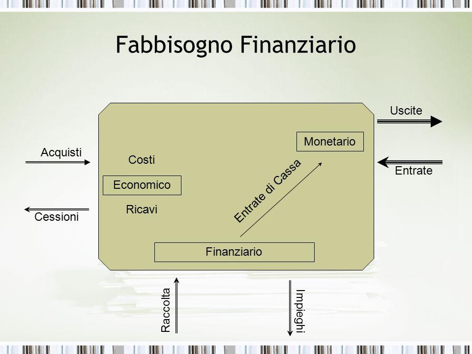 Fabbisogno Finanziario Acquisti Cessioni Uscite Entrate Costi Ricavi Economico Monetario Finanziario Raccolta Impieghi Entrate di Cassa