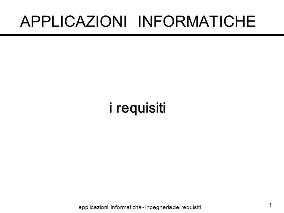 applicazioni informatiche - ingegneria dei requisiti 1 APPLICAZIONI INFORMATICHE i requisiti